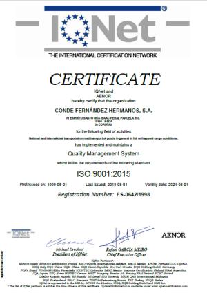 Cetificado de calidad IQNET